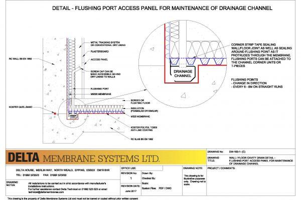 Delta Channel Flushing Port Detail