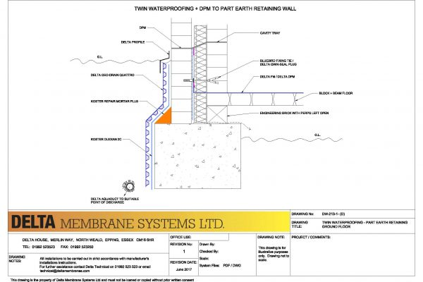 Twin Waterproofing - Part Earth Retaining Wall