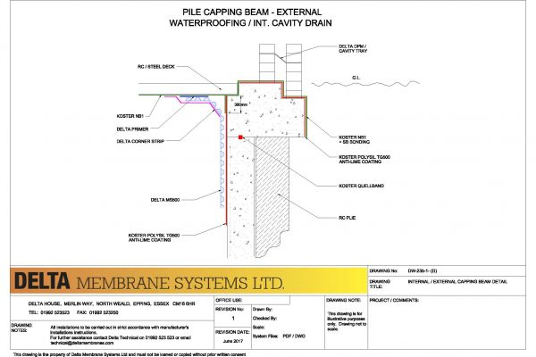Internal - External Capping Beam Detail