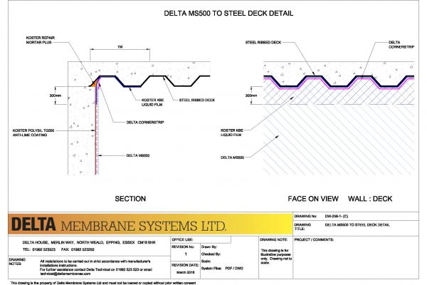 Delta MS500 to Steel Deck Detail