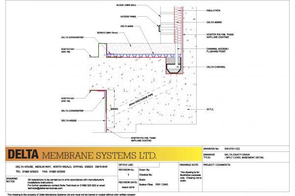 Delta Cavity Drain - Split Level Basement Detail