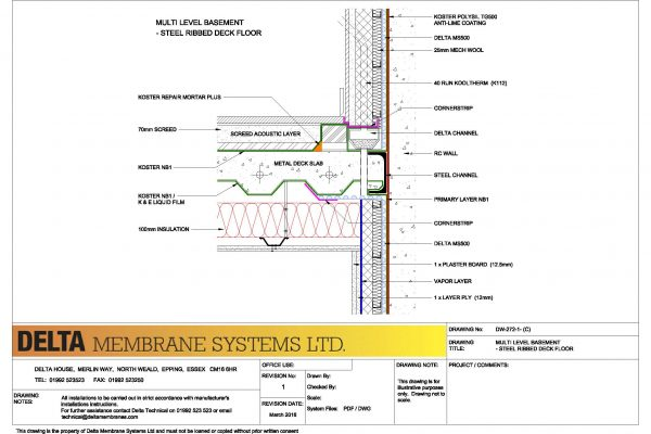 Multi Level Basement - Steel Ribbed Deck Floor