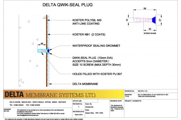 Delta Qwick-Seal Plug / Koster PU 907 Twin Waterproofing