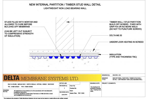 New Internal Partition / Timber Stud Wall Detail (Lightweight Non Load Bearing Wall)