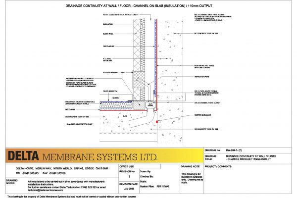 Drainage Continuity at Wall / Floor - Channel on slab / 110mm Outlet