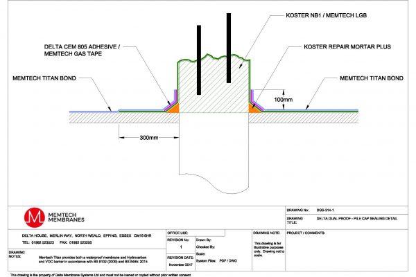 Memtech - Delta Dualproof - Pile Cap Sealing Detail