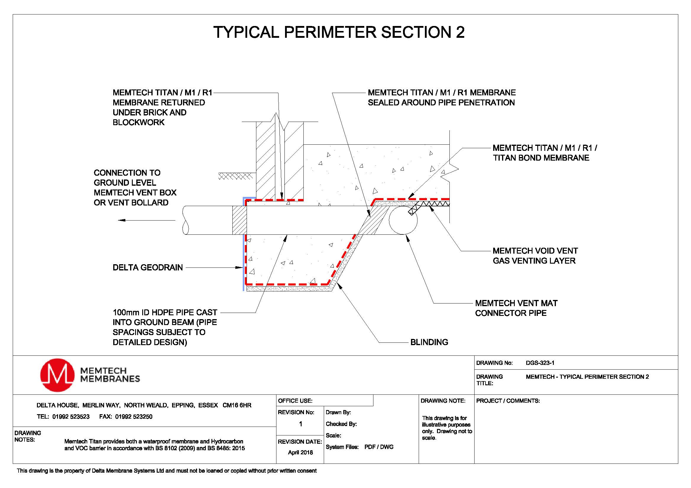 Technical Drawings - Memtech Ground Gas Protection - Delta