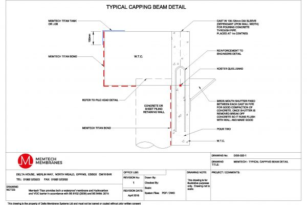 Memtech - Typical Capping Beam Detail