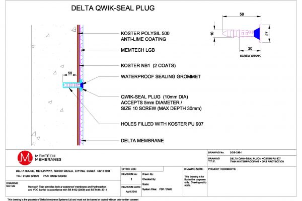 Memtech - Delta Qwik-Seal Plug / Koster PU 907 Twin Waterproofing + Gas Protection