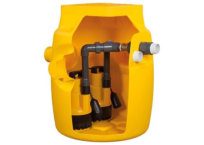 Dual V6 Sump Pump Station for Basement and Cellar Drainage