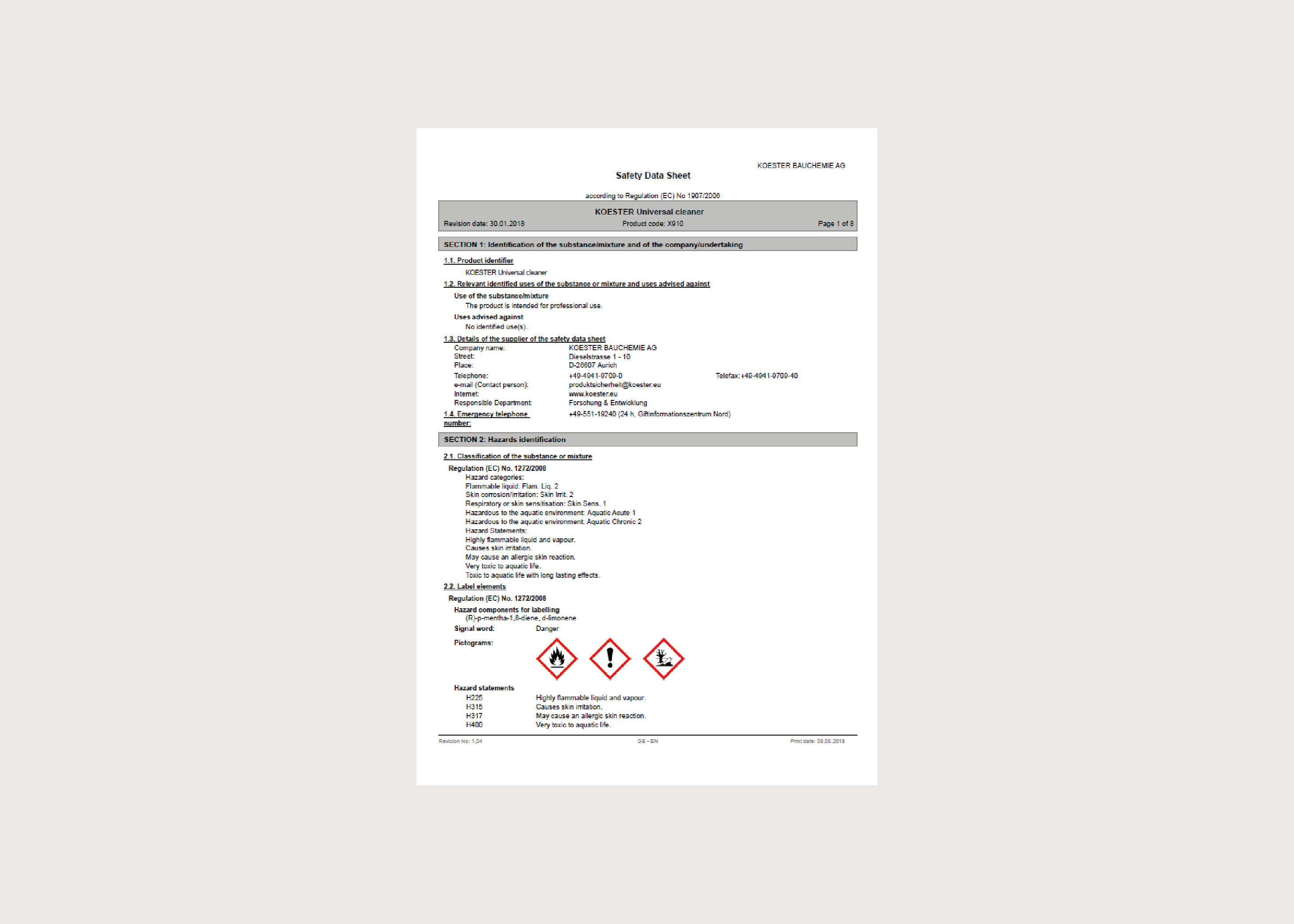 Koster Accessory MSDS