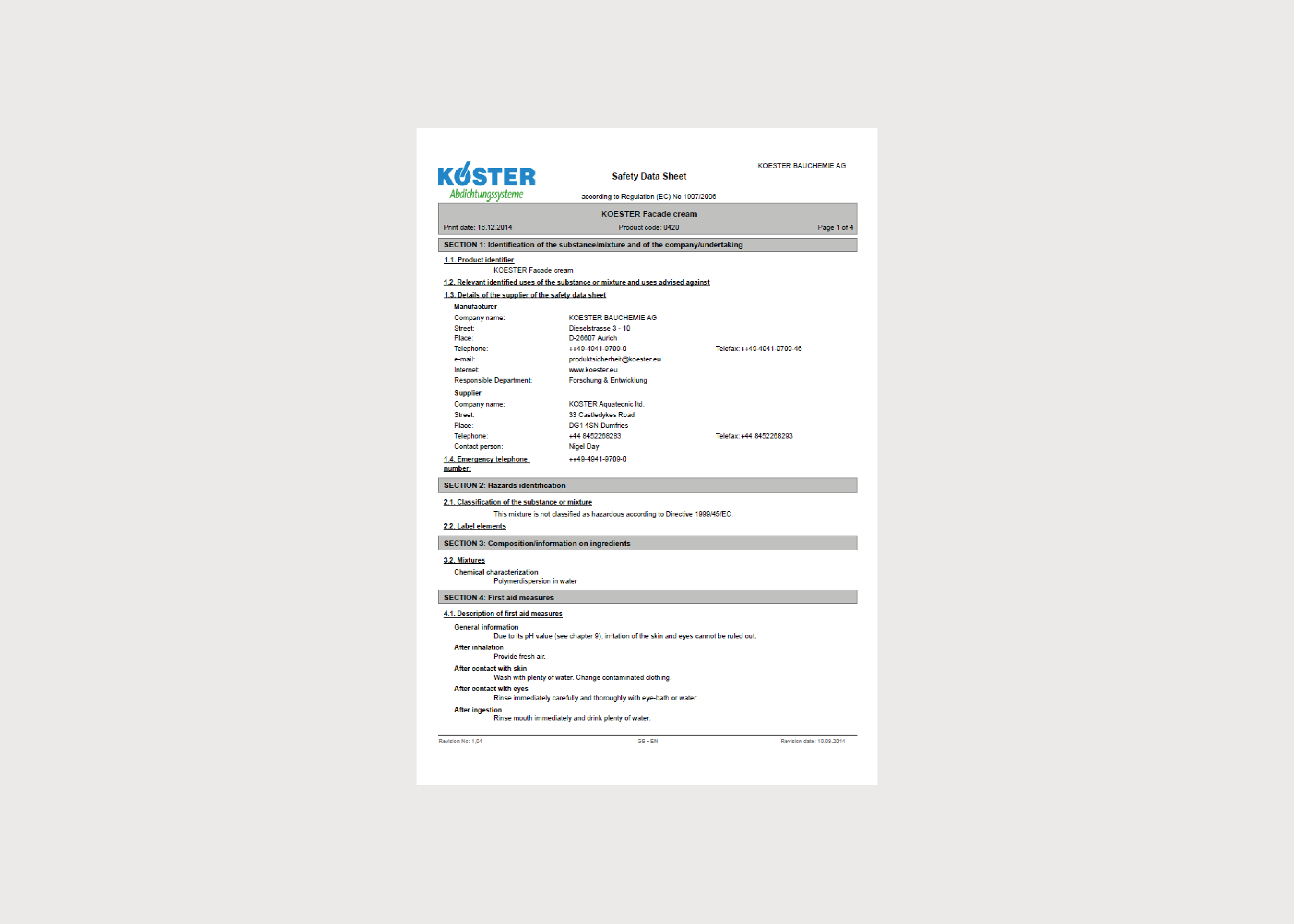 Koster Facade Protection and Paints MSDS