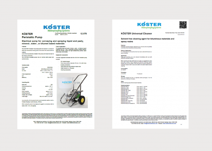 Koster Accessory Product Data Sheets