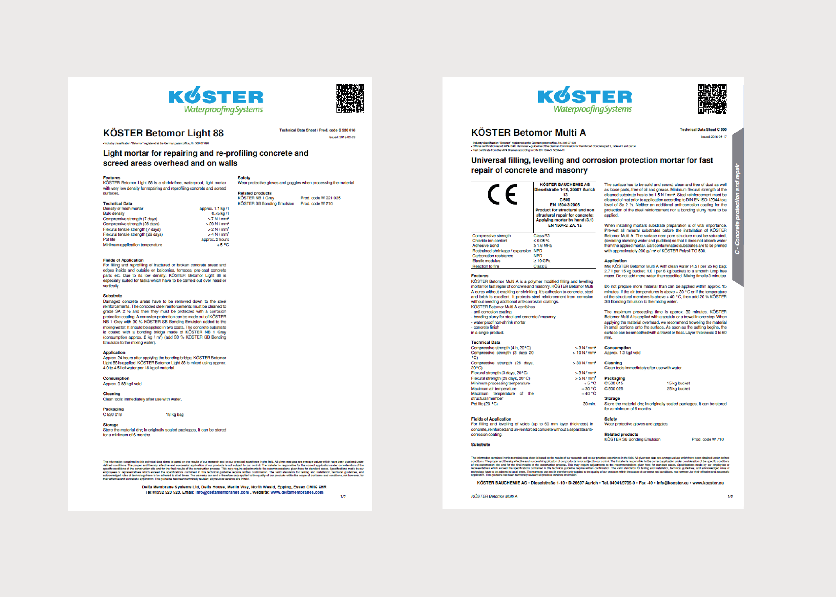 Koster Concrete Protection and Repair Product Data Sheets