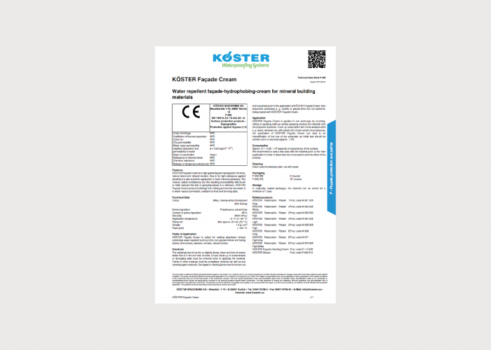 Koster Facade Protection and Paints Product Data Sheets