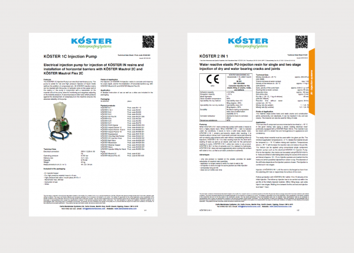 Koster Injection Systems Product Data Sheets