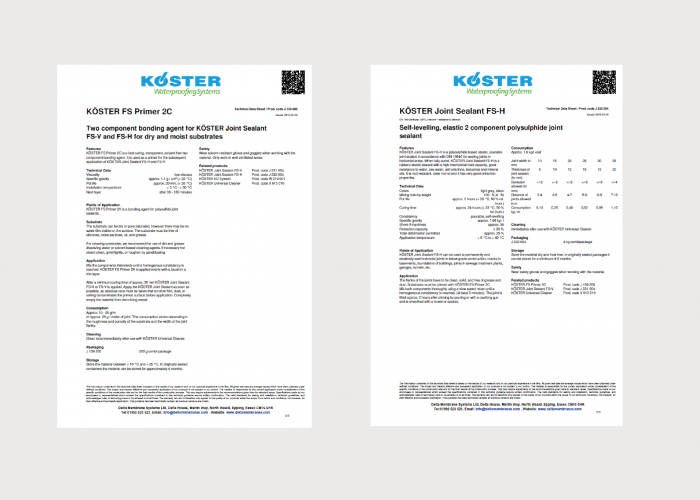 Koster Joint Sealing Product Data Sheets