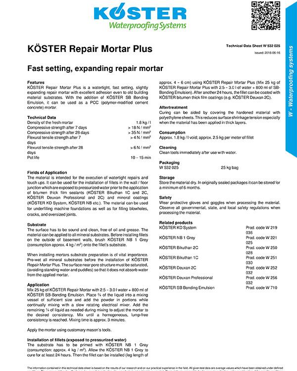 Koster Repair Mortar Plus