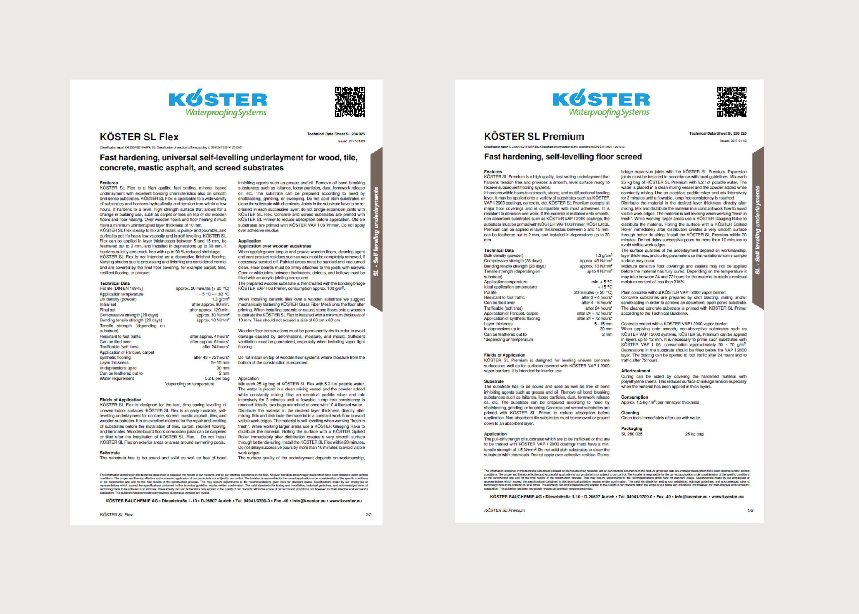 Koster Self Levelling/Underlayments Product Data Sheets