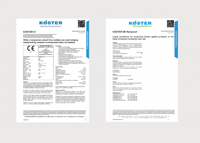 Koster Waterproofing Product Data Sheets