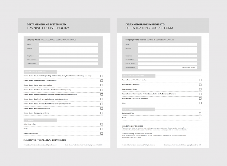 Booking and Course Enquiry Forms