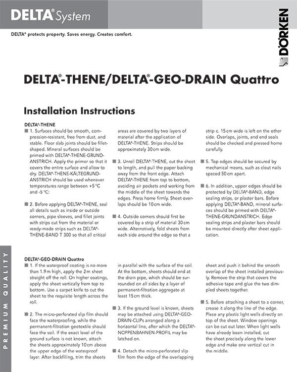Delta Thene Geo Drain Quattro Installation