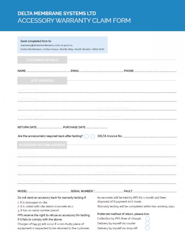 Accessory Warranty Claim Form