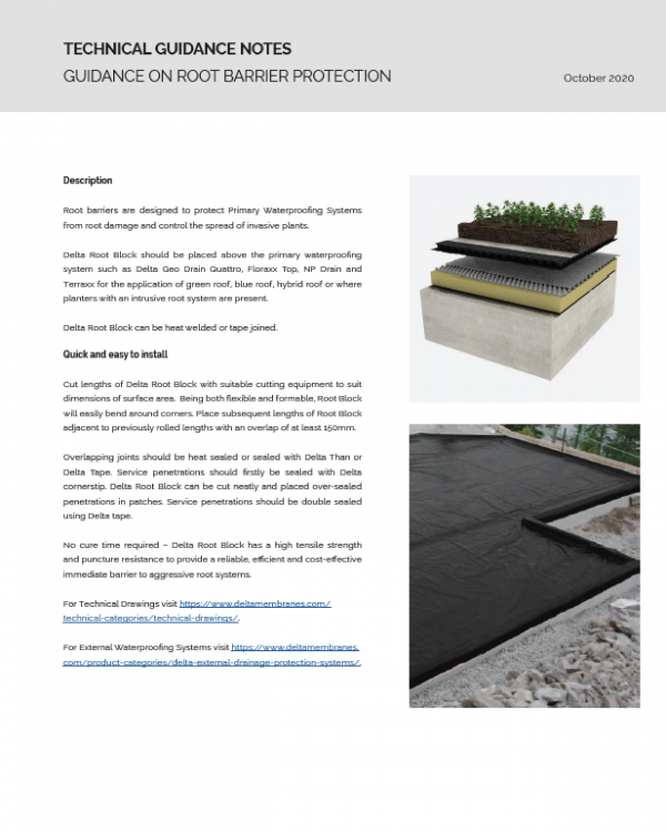 Application of Delta Root Block for Green, Blue and Hybrid Roofs