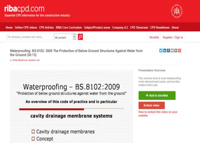 RIBA Approved Structural Waterproofing Online Learning CPD