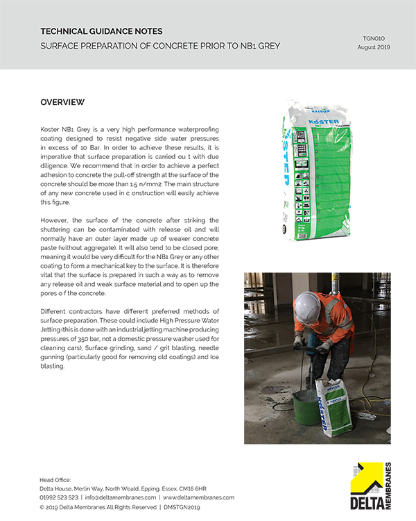 Surface Preparation of Concrete Substrates prior to the application of NB 1