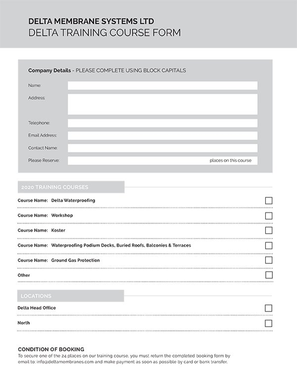 Delta Training Course Booking Form