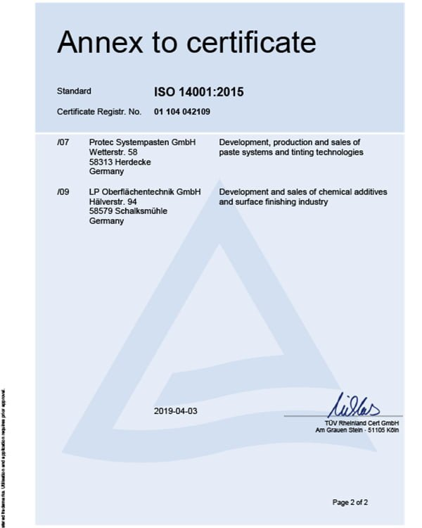 Annex to ISO certificate