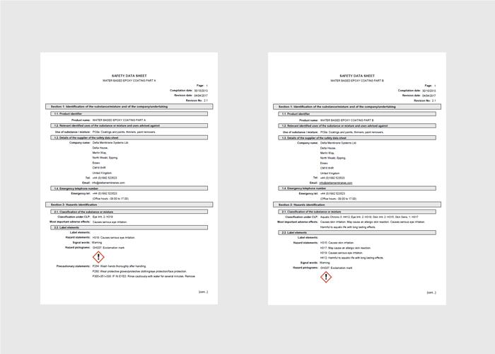 MSDS (Material Data Sheets)