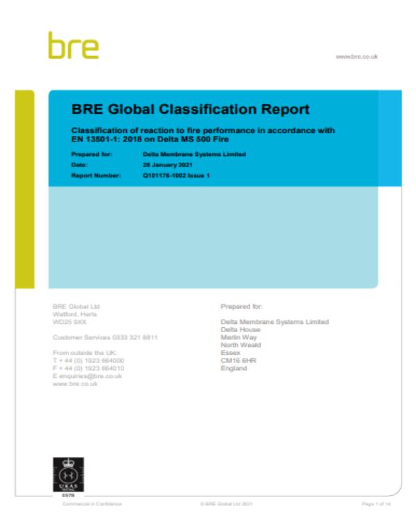BRE Report for Delta MS 500 Fire Retardant Membrane