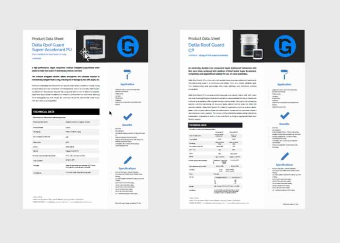 Delta Roof Guard Product Data Sheets