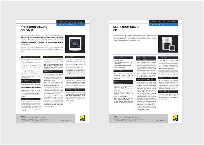 Delta Roof Guard Product Guidance Notes